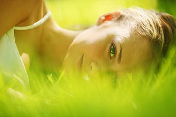 woman sleep on grass